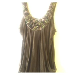 Beaded sequin flow fitting Olive tank top